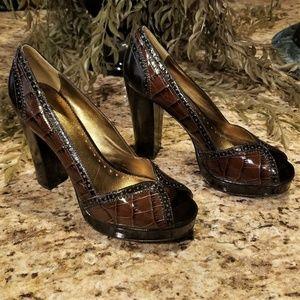 COACH Lynette Brown Leather Croco Platform Shoes